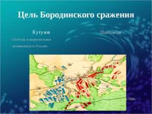 Цель Бородинского сражения Кутузов Наполеон Свобода и национальная независимо