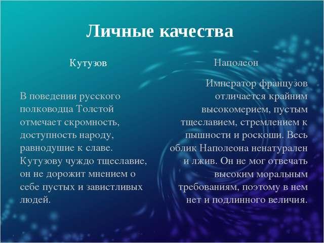 Личные качества Кутузов Наполеон В поведении русского полководца Толстой отме...