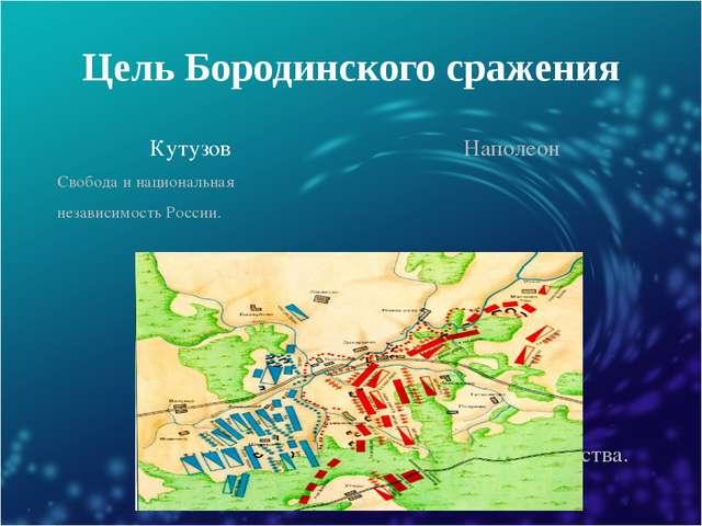 Цель Бородинского сражения Кутузов Наполеон Свобода и национальная независимо...
