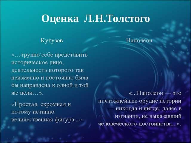 Оценка Л.Н.Толстого Кутузов Наполеон «…трудно себе представить историческое л...