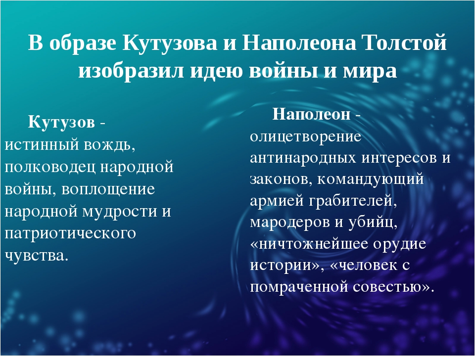 В образе Кутузова и Наполеона Толстой изобразил идею войны и мира Кутузов - и...