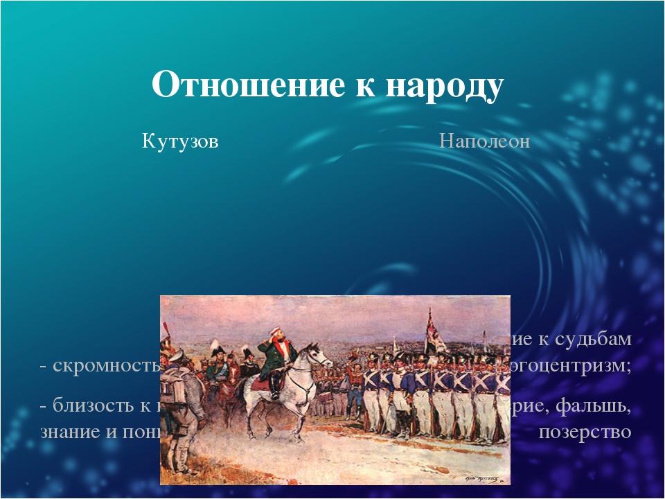 Отношение к народу Кутузов Наполеон - скромность и простота; - близость к про...