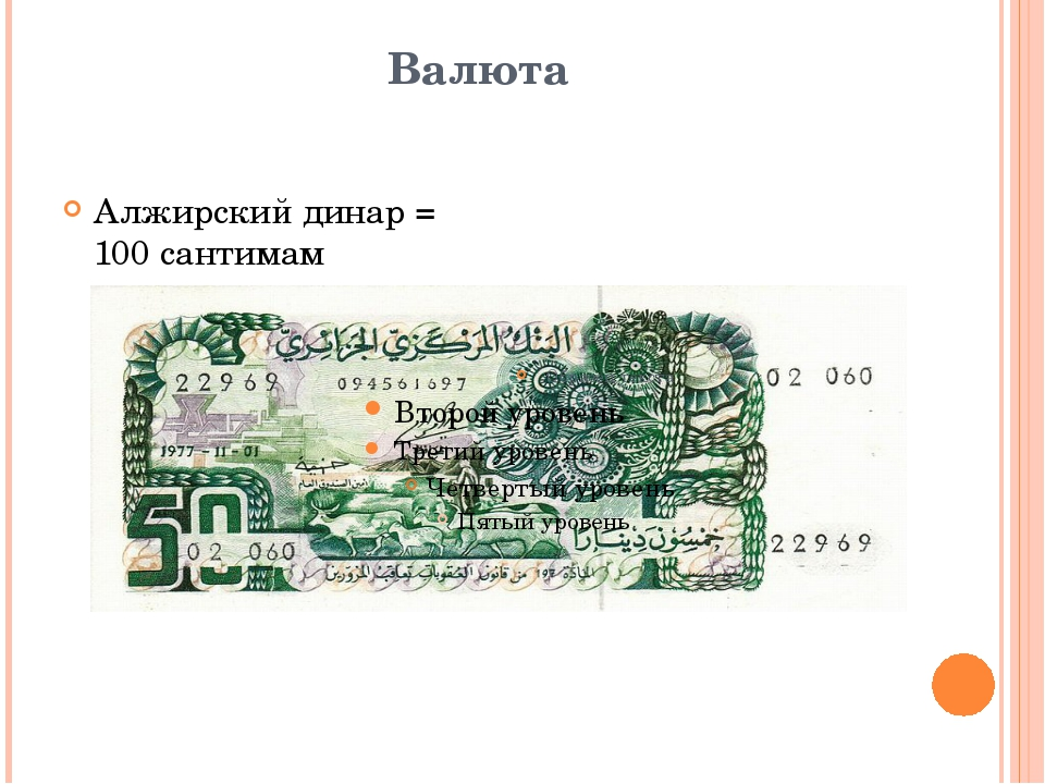 Валюта Алжирский динар = 100 сантимам