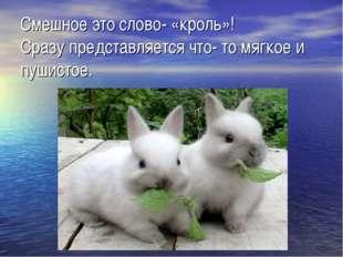 Смешное это слово- «кроль»! Сразу представляется что- то мягкое и пушистое.