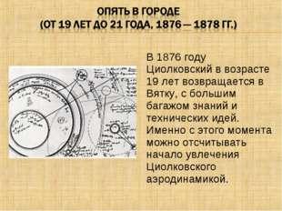 В 1876 году Циолковский в возрасте 19 лет возвращается в Вятку, с большим баг