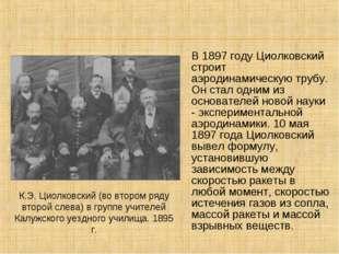 В 1897 году Циолковский строит аэродинамическую трубу. Он стал одним из основ