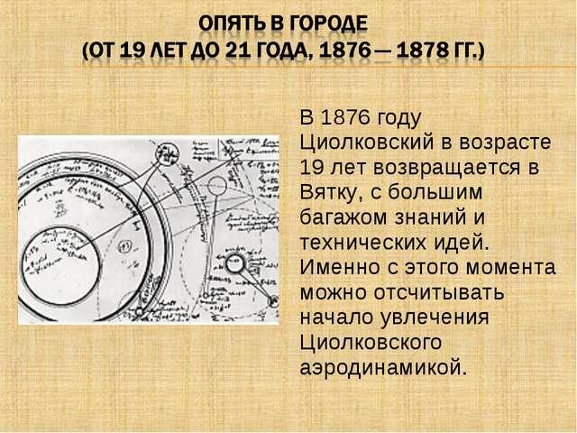 В 1876 году Циолковский в возрасте 19 лет возвращается в Вятку, с большим баг...