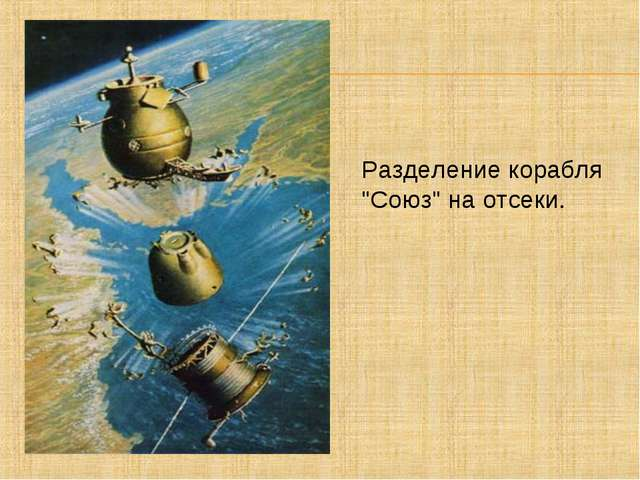 """Разделение корабля """"Союз"""" на отсеки."""