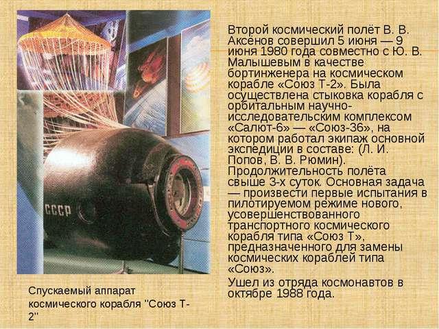 Второй космический полёт В. В. Аксёнов совершил 5 июня — 9 июня 1980 года сов...