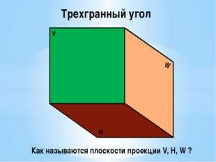 V W H Трехгранный угол Как называются плоскости проекции V, H, W ?