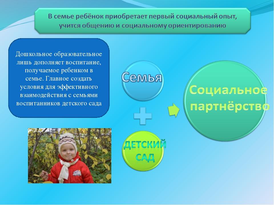 Дошкольное образовательное лишь дополняет воспитание, получаемое ребенком в с...