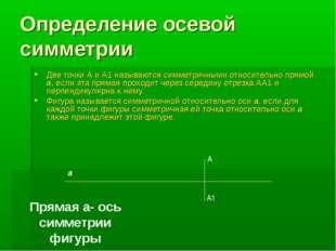 Определение осевой симметрии Две точки А и А1 называются симметричными относи
