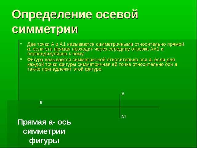 Определение осевой симметрии Две точки А и А1 называются симметричными относи...