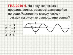 ГИА-2010-4. На рисунке показан профиль волны, распространяющейся по воде.Расс