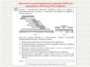 Фрагмент из демонстрационного варианта КИМ для проведения в 2013 году ГИА по