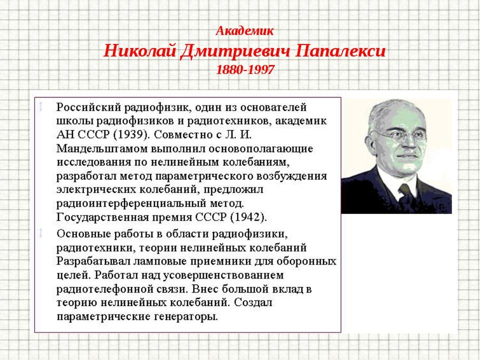 Академик Николай Дмитриевич Папалекси 1880-1997