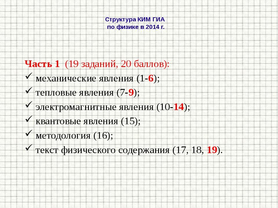 Структура КИМ ГИА по физике в 2014 г. Часть 1 (19 заданий, 20 баллов): механ...