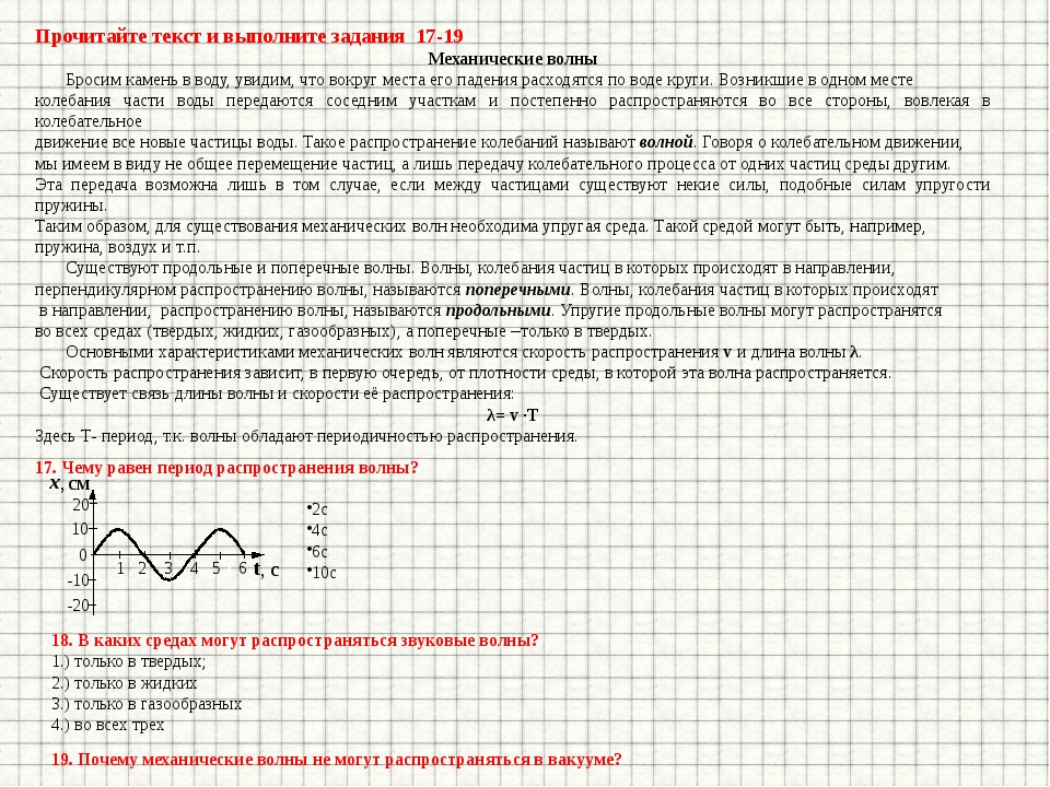 Прочитайте текст и выполните задания 17-19 Механические волны Бросим камень в...