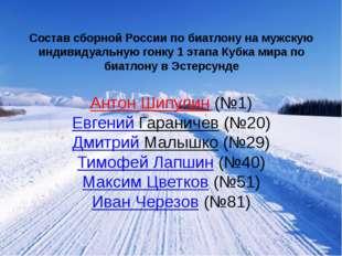 Состав сборной России по биатлону на мужскую индивидуальную гонку 1 этапа Куб