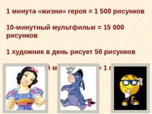 1 минута «жизни» героя = 1 500 рисунков 10-минутный мультфильм = 15 000 рисун