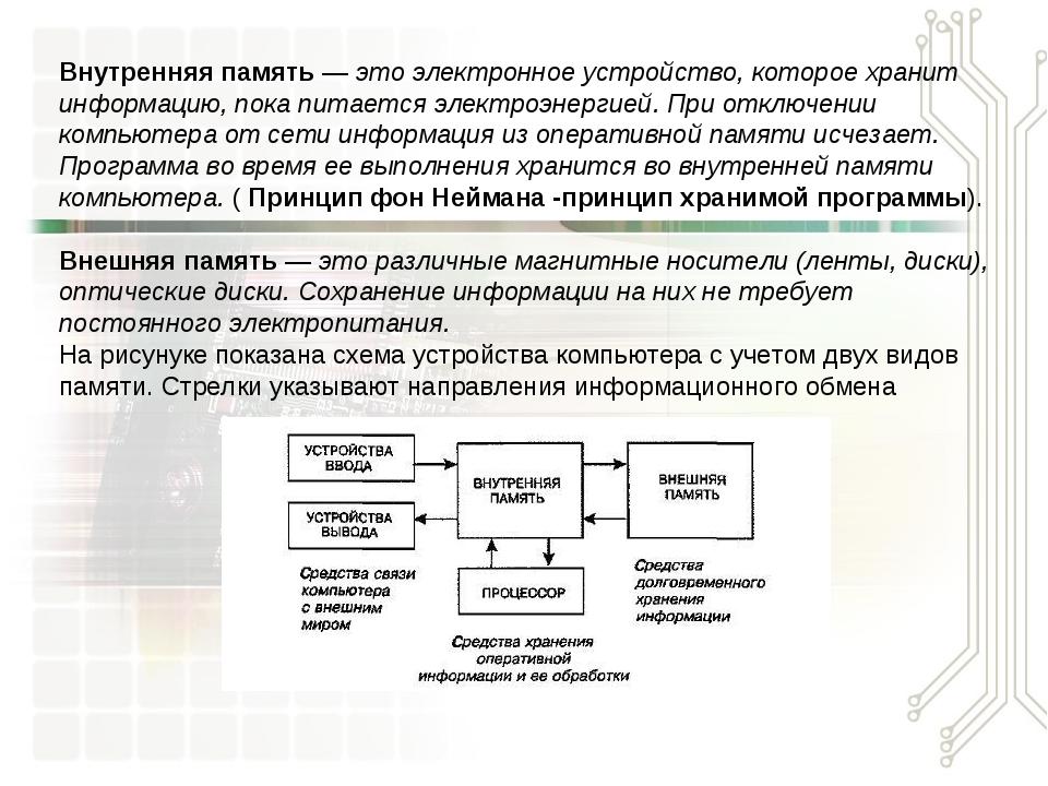 Внутренняя память — это электронное устройство, которое хранит информацию, по...