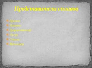 Бронза Латунь Дюралюминий Чугун Сталь Мельхиор Представители сплавов