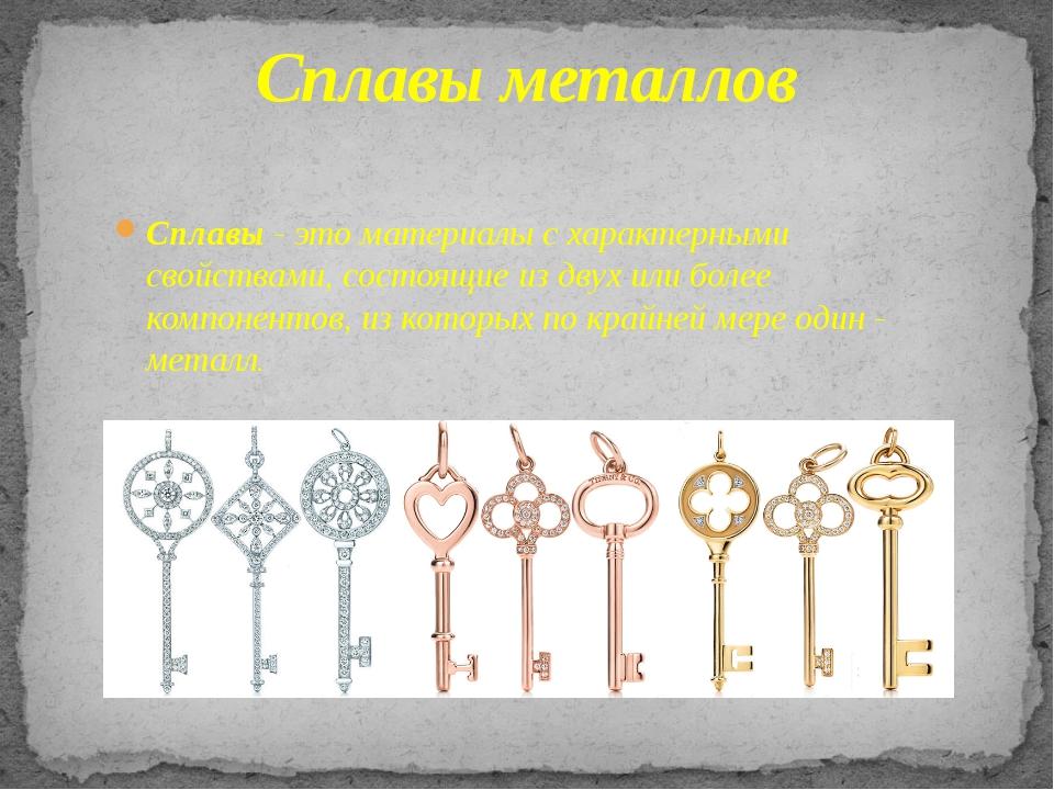 Сплавы металлов Сплавы - это материалы с характерными свойствами, состоящие и...