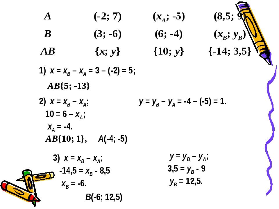 1) x = xB – xA = 3 – (-2) = 5; 2) x = xB – xA; 10 = 6 – xA; xA = -4. y = yB –...