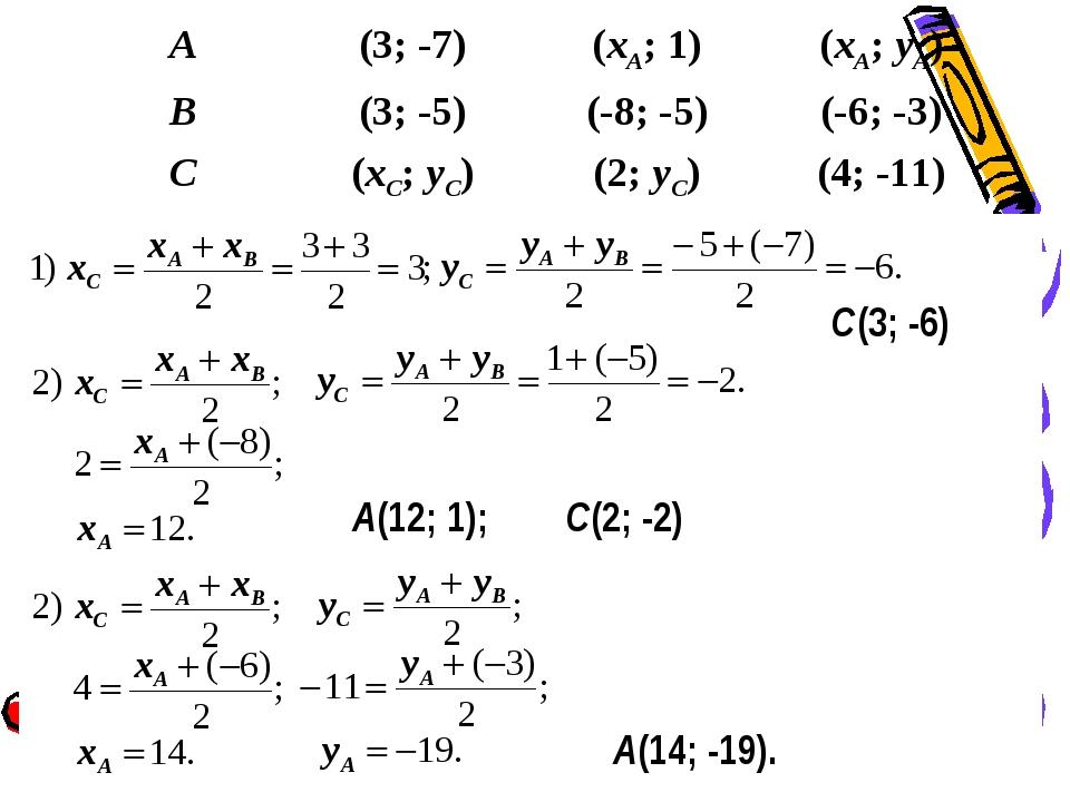 С(3; -6) A(12; 1); С(2; -2) A(14; -19). A(3; -7)(xA; 1)(xA; yA) B(3; -5)...