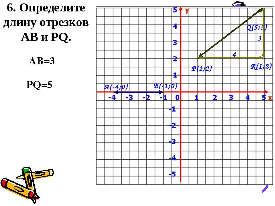 6. Определите длину отрезков АВ и PQ. А(-4;0) В(-1;0) P(1;2) Q(5;5) AB=3 PQ=5...