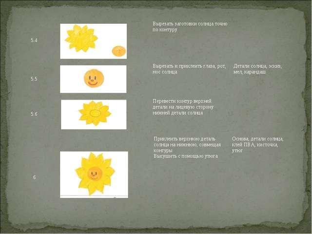5.4Вырезать заготовки солнца точно по контуру 5.5Вырезать и приклеить гл...