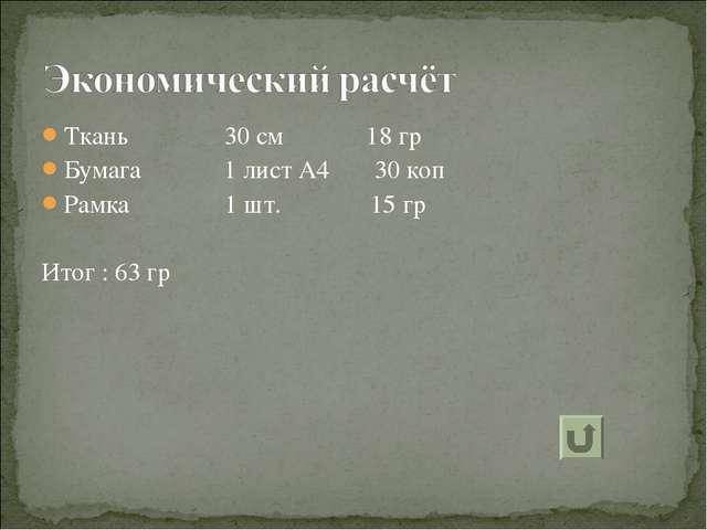 Ткань 30 см 18 гр Бумага 1 лист А4 30 коп Рамка 1 шт. 15 гр Итог : 63 гр