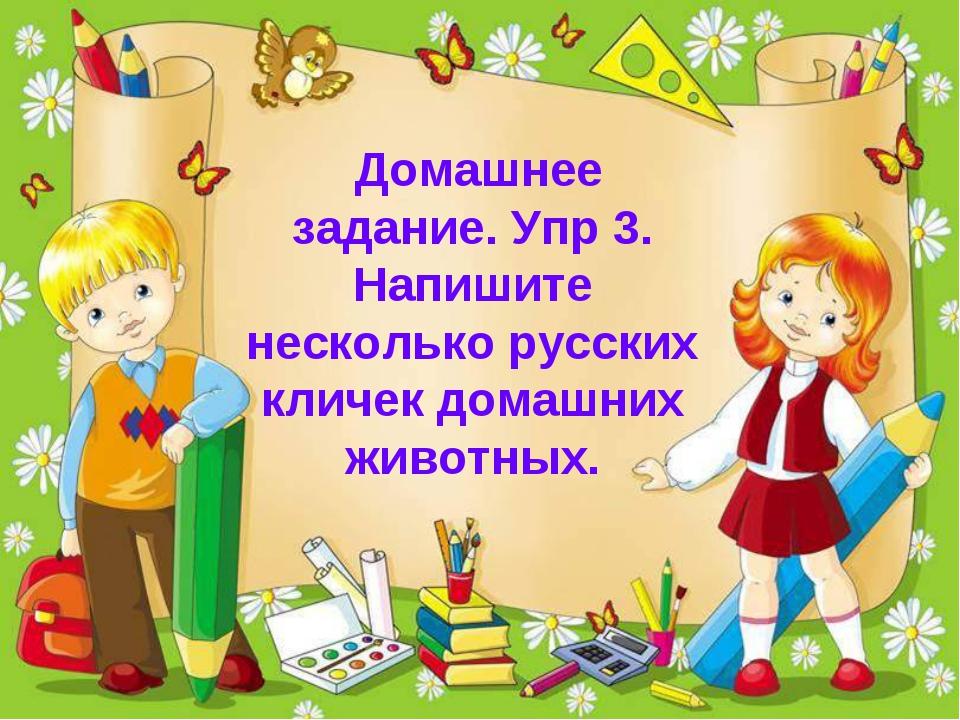 Домашнее задание. Упр 3. Напишите несколько русских кличек домашних животных.