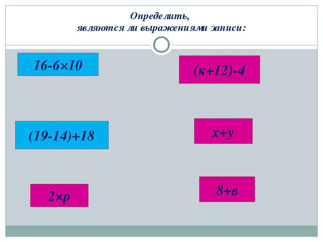 Определить, являются ли выражениями записи: 16-6×10 8+в х+у (19-14)+18 2×р (к...
