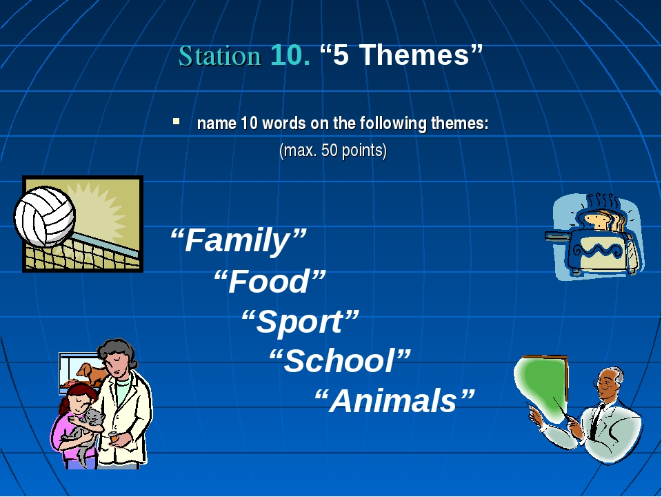 "Station 10. ""5 Themes"" name 10 words on the following themes: (max. 50 points..."