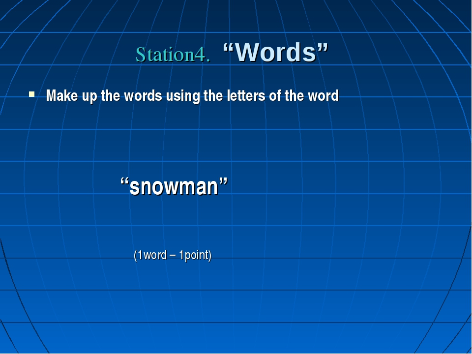"Station4. ""Words"" Make up the words using the letters of the word ""snowman"" (..."