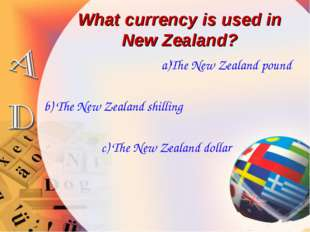 What currency is used in New Zealand? a)The New Zealand pound b) The New Zeal