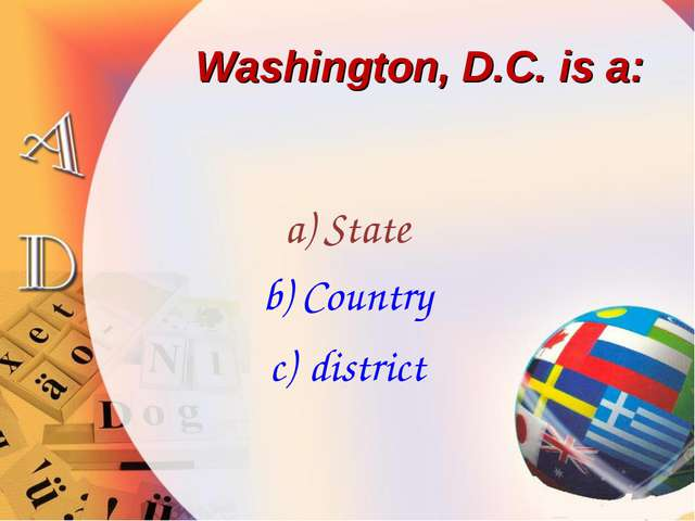 Washington, D.C. is a: State Country district