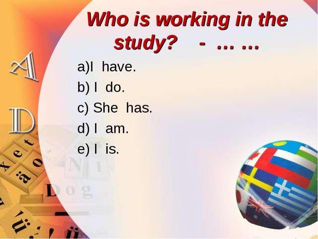 Who is working in the study? - … … a)I have. b) I do. c) She has. d) I am. e)...