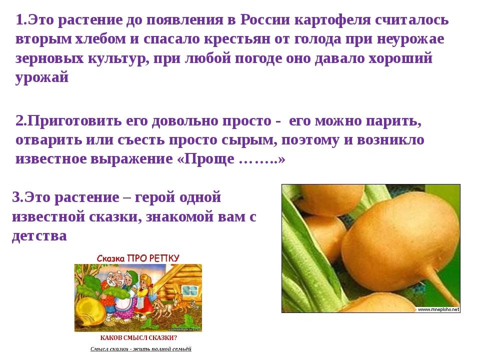 1.Это растение до появления в России картофеля считалось вторым хлебом и спас...