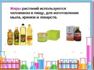 Жиры растений используются человеком в пищу, для изготовления мыла, кремов и