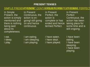 PRESENT TENSES SIMPLE PRESENT TENSE PRESENT CONTINUOUS TENSE PRESENT PERFECT