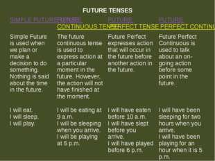 FUTURE TENSES SIMPLE FUTURE TENSE FUTURECONTINUOUS TENSE FUTUREPERFECT TENSE