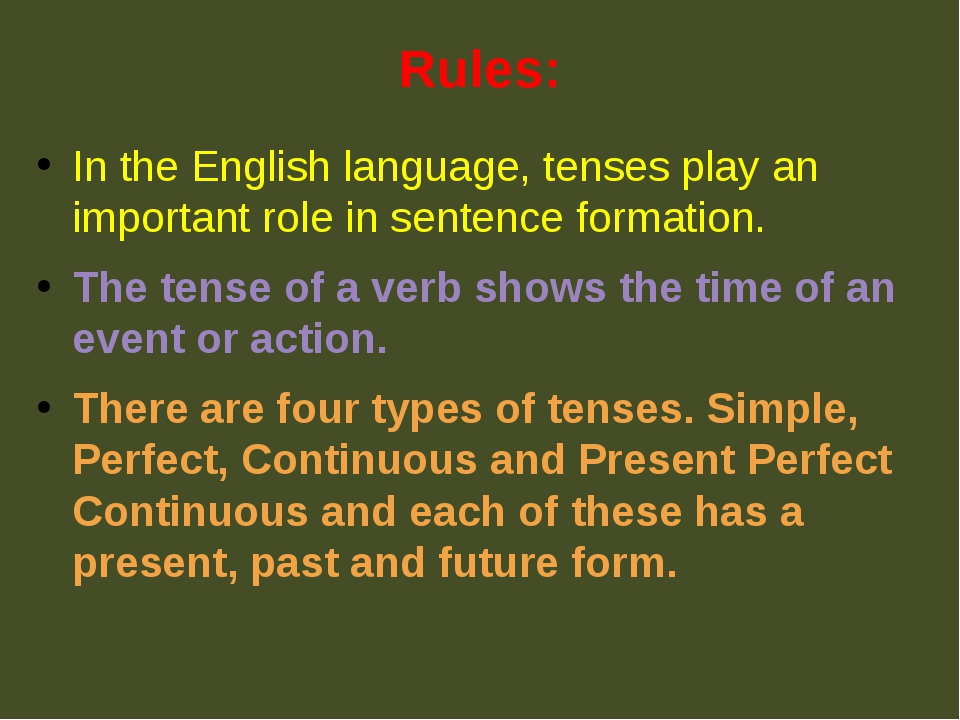 Rules: In the English language, tenses play an important role in sentence for...