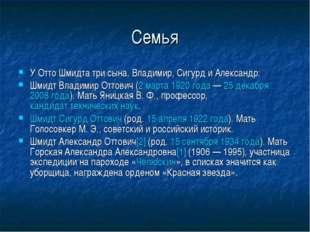 Семья У Отто Шмидта три сына, Владимир, Сигурд и Александр: Шмидт Владимир От