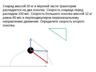 Снаряд массой 20 кг в верхней части траектории распадается на два осколка. Ск