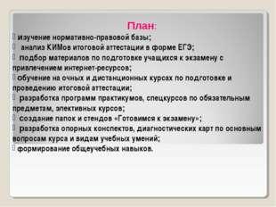 План: изучение нормативно-правовой базы; анализ КИМов итоговой аттестации в