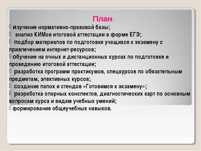 План: изучение нормативно-правовой базы; анализ КИМов итоговой аттестации в...