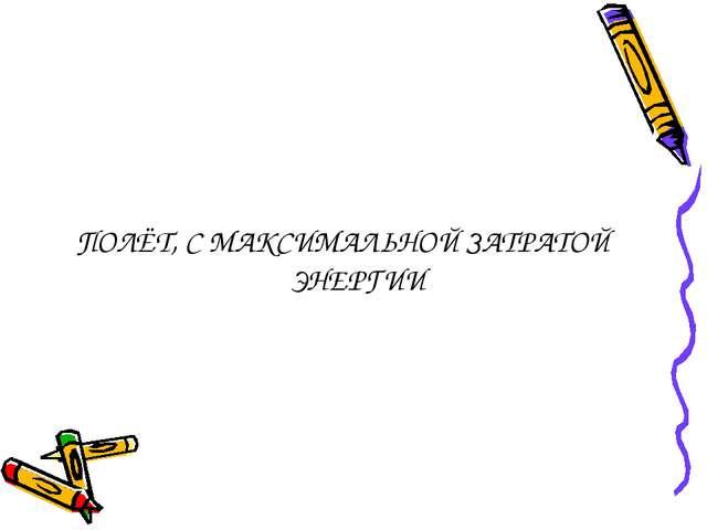 ПОЛЁТ, С МАКСИМАЛЬНОЙ ЗАТРАТОЙ ЭНЕРГИИ