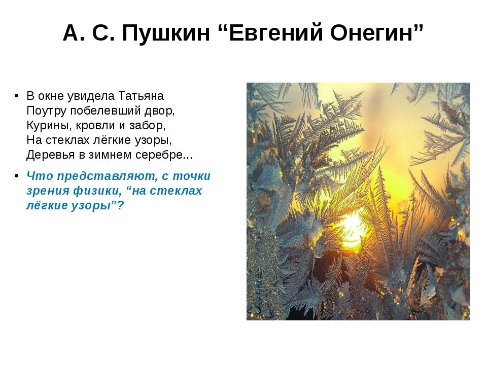 """А. С. Пушкин """"Евгений Онегин"""" В окне увидела Татьяна Поутру побелевший двор,..."""